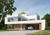 Moderne Villa weiss Tag