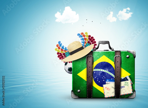 Canvastavla Brazil, Brazil landmarks, travel and retro suitcase
