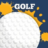 golf ball icon over yellow splashes and blue background. colorful design. vector illustration