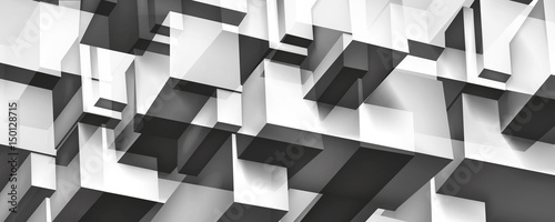 Volume geometric glass construction, 3d cubes gray background, shapes mosaic, abstraction wallpaper, vector design for you presentation - 150128715