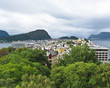 Aerial view of city, Alesund, Norway. - 150131928