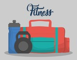 gym bag, dumbbells and water bottle icon over gray background. fitness lifestyle concept. colorful design. vector illustration