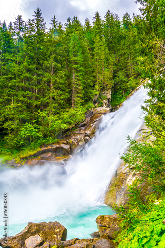 Foto op Canvas Groene koraal View of the Krimml Waterfall which is the highest waterfall in Austria.