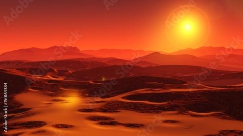 Fotobehang Rood traf. Landscape of Mars, Martian panorama, panorama of Mars, mountain landscape