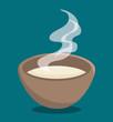 Hot soup over blue background. Vector illustration. - 150185120
