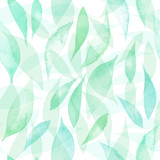 Seamless vector pattern with hand drawn watercolor leaves. Vector seamless background. Organic hand drawn seamless colorful background. Natural botanical texture in green colors. - 150190120