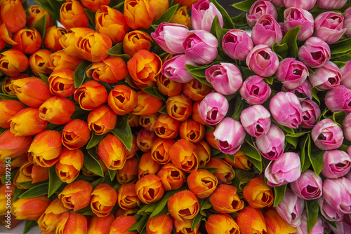 Staande foto Rood traf. Bouchet di tulipani in Amsterdam