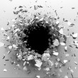 Cracked concrete wall with bullet hole. Destruction Abstract background. 3D render illustration - 150208933