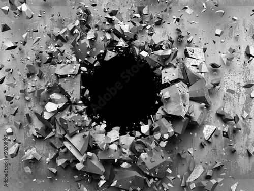 Zdjęcia na płótnie, fototapety na wymiar, obrazy na ścianę : Cracked explosion concrete wall hole abstract background. 3d render illustration