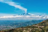 Smoking Mount Etna Volcano from Taormina, Sicily