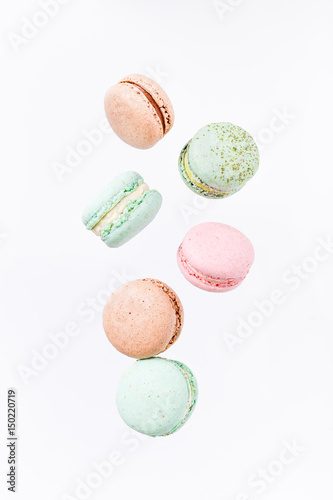 Macarons cake, top view flat lay, fly falling pattern macaroon Poster