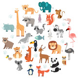 Wildlife Animals Cartoon Set - 150223731