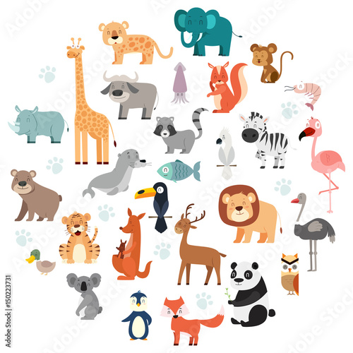 Wildlife Animals Cartoon Set - 150223731