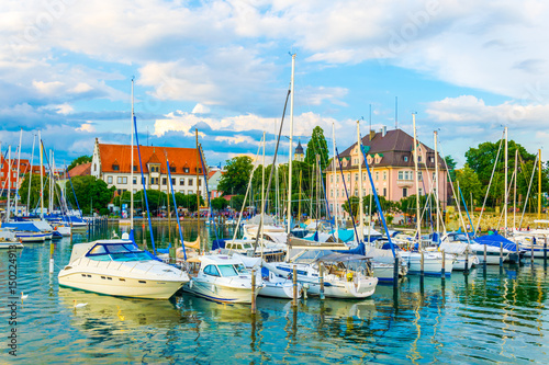 Aluminium View of marina and the Mangturm tower situated in the german port Lindau.