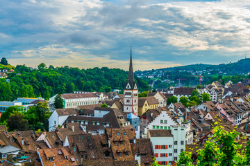 Aerial view of the swiss city schaffhausen taken from the top of the munot fortress.