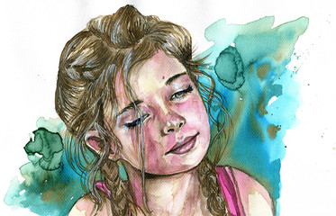 Watercolor portrait of a girl © bruniewska
