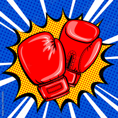 Boxing gloves pop art style vector