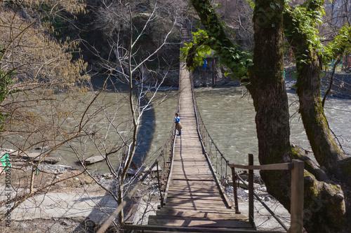 Подвесной пешеходный мост через реку Мзымта Poster