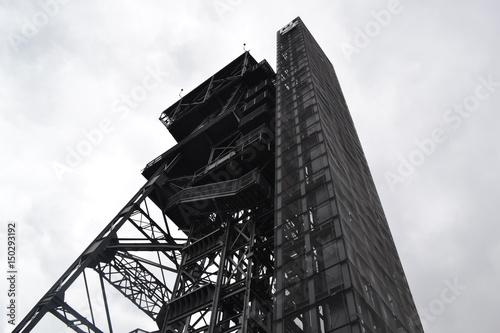 Katowice, szyb kopalnii widziany z dołu
