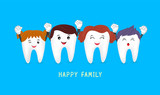 Happy cute family cartoon tooth characters. Dental care concept. Illustratiion on blue background. - 150378146