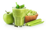 Detox smoothie with celery and apple on a white background.