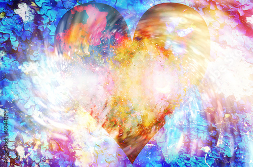 Heart in cosmic space, color cosmic abstract background and crackle structure and swirl.