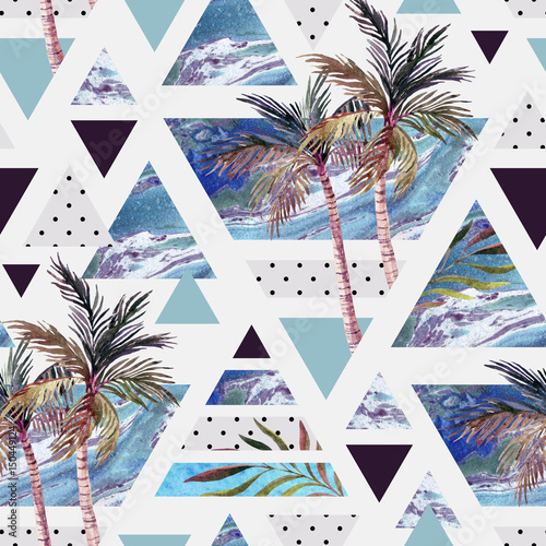 Abstract summer geometric seamless pattern. - 150449124