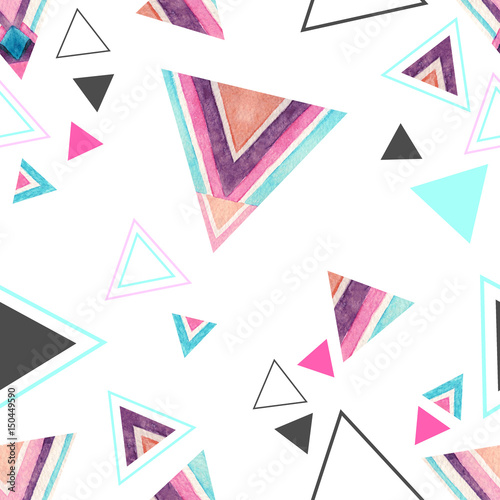 Abstract watercolor triangle seamless pattern. - 150449590