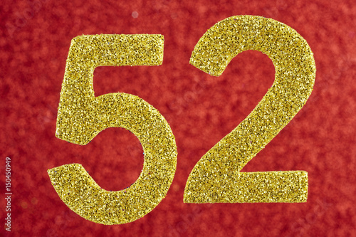 Poster Number fifty-two yellow over a red background