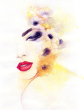 Woman with flowers. Fashion illustration. Watercolor painting