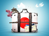 Japan, retro suitcase with a Japanese flag and sword - 150457120