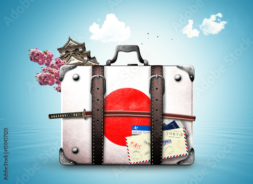 Fotobehang Tokio Japan, retro suitcase with a Japanese flag and sword