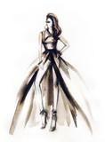Woman in elegant dress. Fashion illustration. Watercolor painting