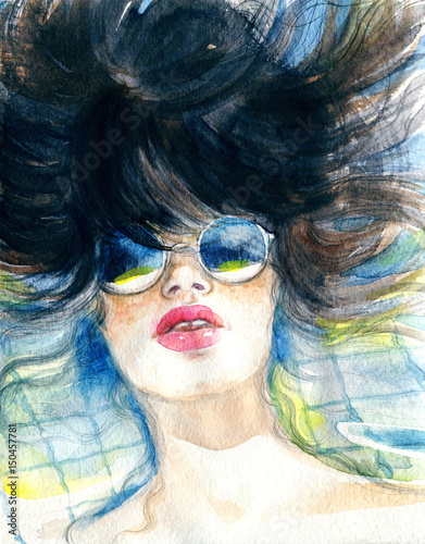 Swiming. Pool. Woman with sunglasses. Fashion illustration. Watercolor painting
