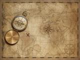 Przygoda i zwiedzanie ze starymi mapami morskimi 3D ilustracja (mapy elementy są dostarczane przez NASA)