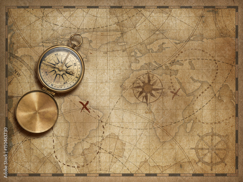 adventure and explore with old nautical world map 3d illustration (map elements are furnished by NASA)
