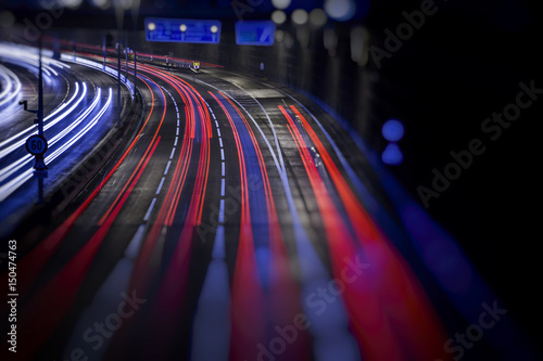 Foto op Aluminium Nacht snelweg colorful light trace from night traffic in the city
