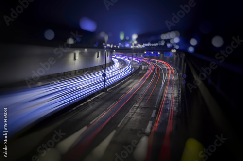 Foto op Canvas Nacht snelweg colorful light trace from night traffic in the city