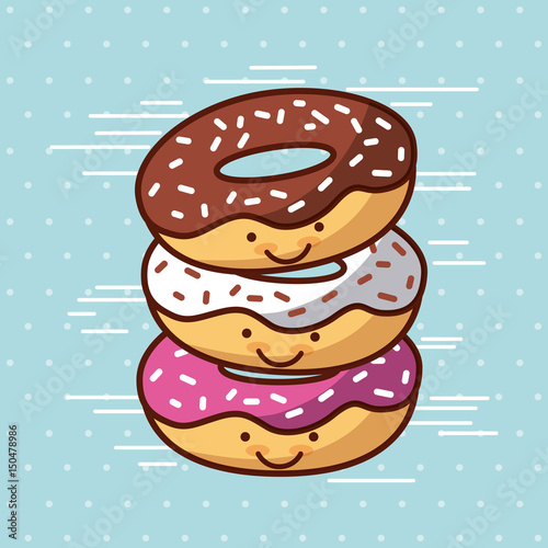 donut kawaii food with background colorful image vector illustration design  - 150478986