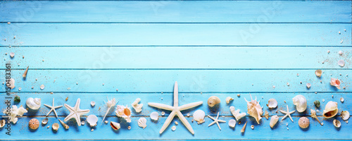 Fototapeta Starfish And Seashell On Blue Plank