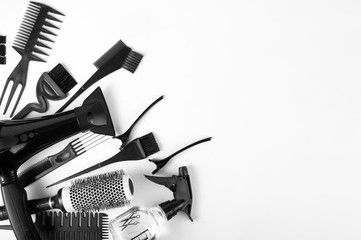 Set of hairdressers on white background. top view