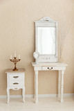A old retro white dressing table, glass mirror. - 150517995