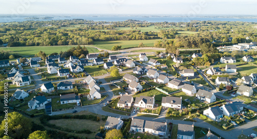 Aerial View Of Sarzeau Brittany French Village