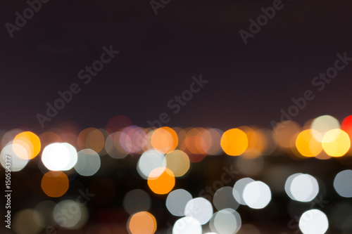city night with dark sky, abstract blur bokeh light background - 150554377