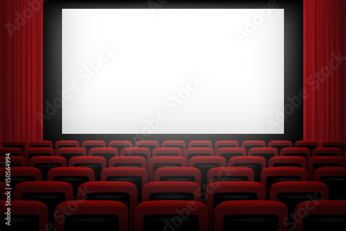 Movie theatre background with white screen red curtains and chairs.