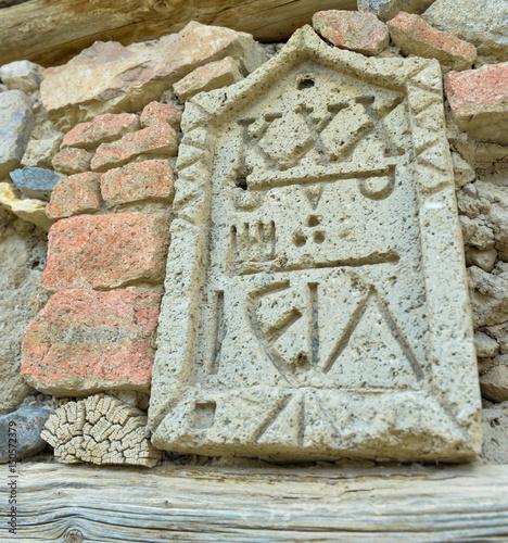 tarihi yazılı taş modeli Poster