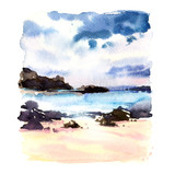 Beautiful tropical beach with rocks in the water, seascape, sea landscape, , watercolor illustration