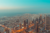 Aerial panoramic view of Dubai from Burj Khalifa.