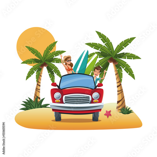 Fotobehang Auto cartoon couple red car surfboard parked on the tropical beach vector illustration