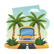 cartoon bus parked on the tropical road vector illustration - 150601766